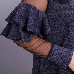 Юнона ангора. Нарядное женское платье плюс сайз. Синий меланж.