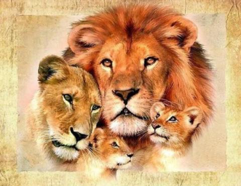 Алмазная Мозаика 30x40 Семья львов