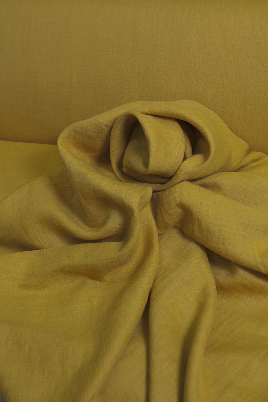 Ткань льняная, с эффектом мятости, цвет: светло-горчичный