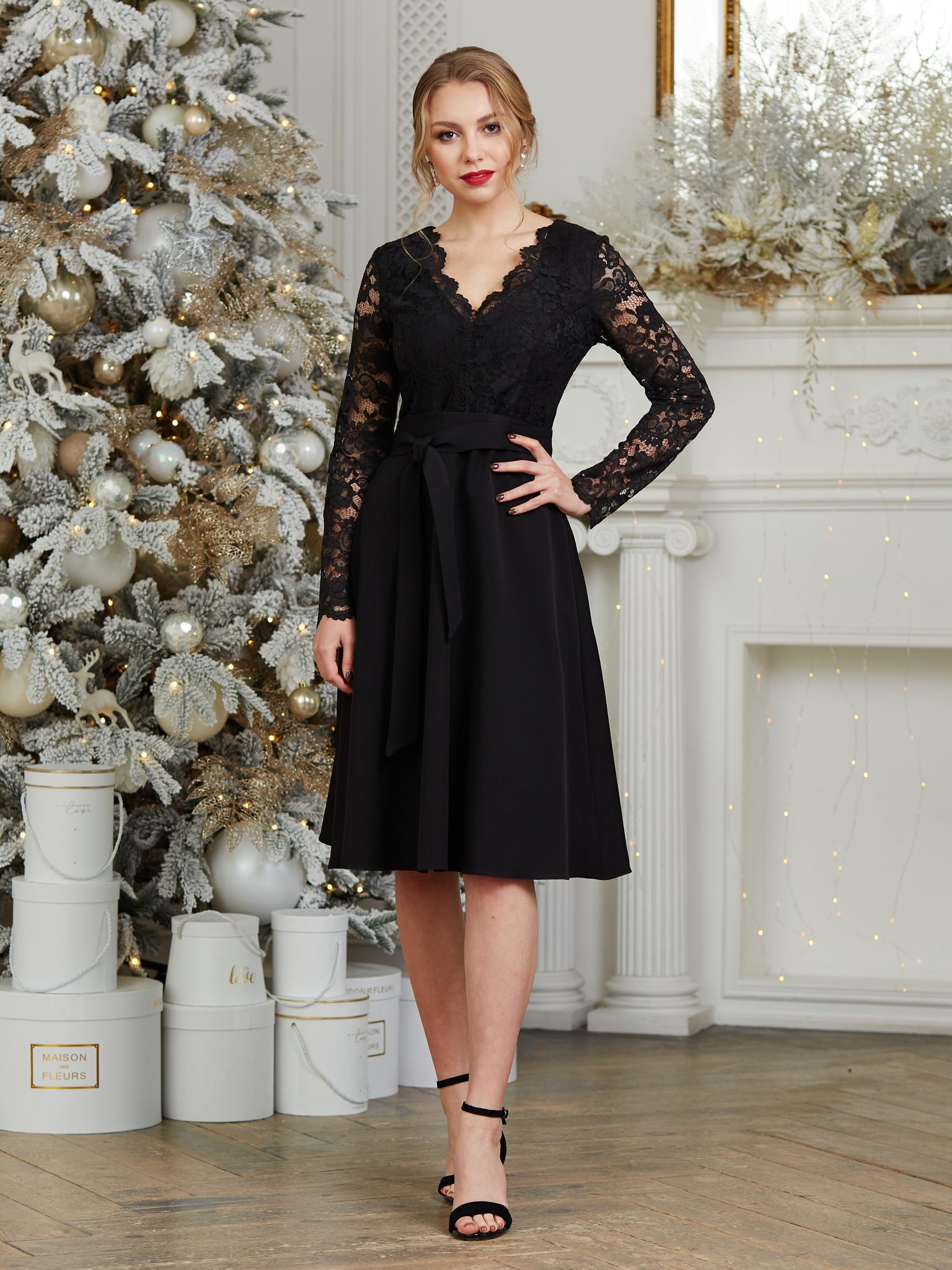 Нарядное платье с кружевным V-образным вырезом миди (черный)