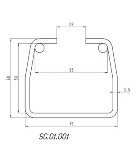 Шина направляющая Alutech до 500 кг. из не оцинкованной стали