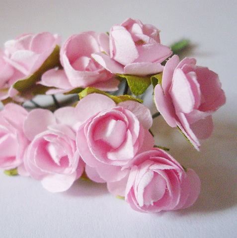 Роза бумажная, диаметр 10 мм, розовый