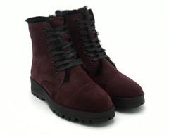 Бордовые ботинки из натурального велюра