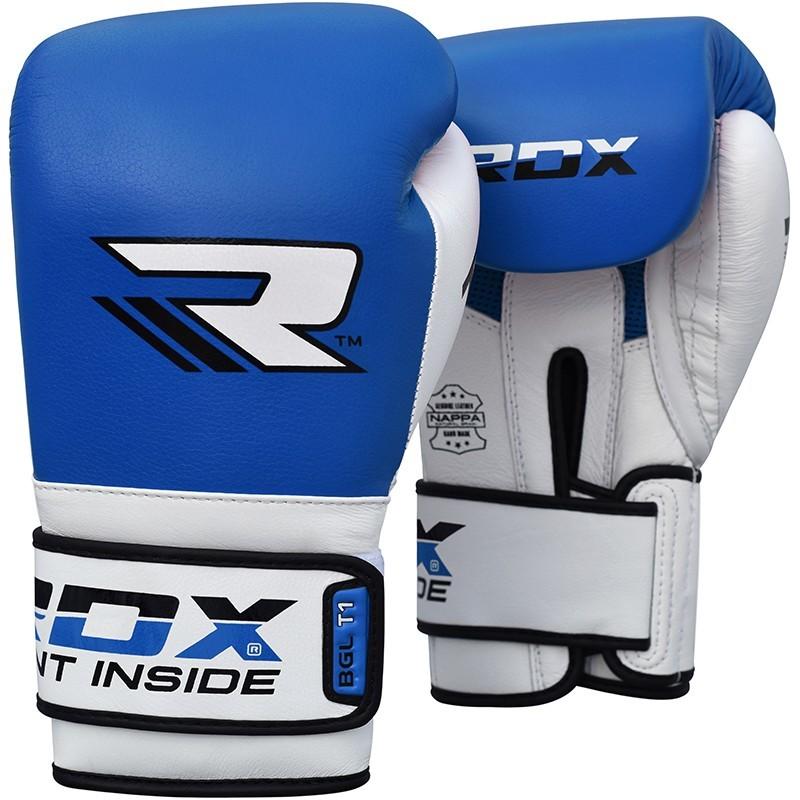 Перчатки Перчатки для бокса RDX Leather Mauy Thai Boxing Gloves BGX-T1 Blue/White 1.jpg