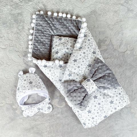 СуперМамкет. Конверт-одеяло с бантом и шапочкой Звездопад, белый/серый плюш