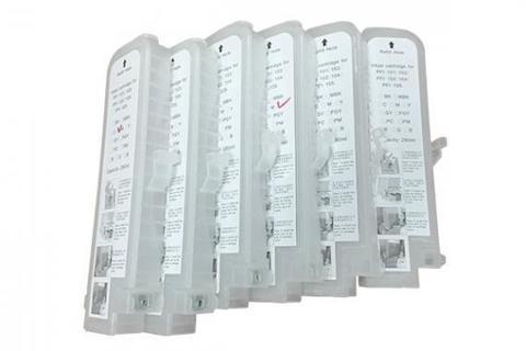 Комплект дозаправляемых картриджей для Canon iPF500, iPF510, iPF600, iPF605, iPF610, iPF700, iPF710, iPF720, iPF750. 6 штук - с чипами!
