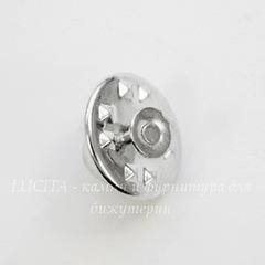 Основа для броши - значка из 2х частей, 12х8 мм (цвет - платина)