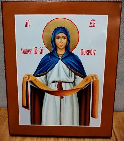 Рукописная икона Покров Пресвятой богородицы 21х17см