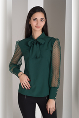 Мілена. Вишукана блуза з оригінальним рукавом. Смарагд