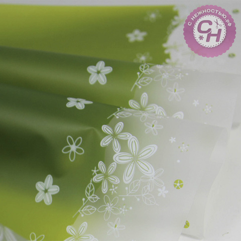 Пленка для цветов матовая с цветочным декором по краю, 60*60 см, 1 шт.