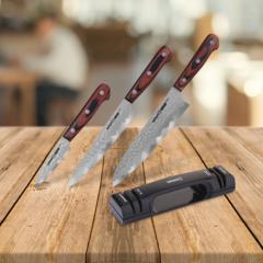 Набор из 3 кухонных ножей SAMURA KAIJU и точилки KSS-2000