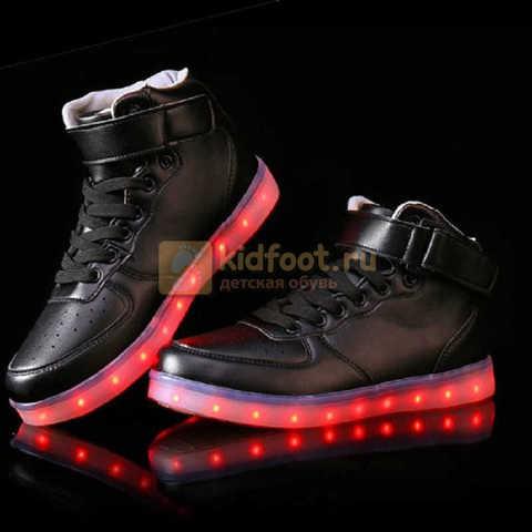 Светящиеся высокие кроссовки с USB зарядкой Fashion (Фэшн) на шнурках и липучках, цвет черный, светится вся подошва. Изображение 19 из 22.