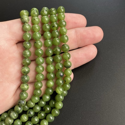 Нефрит байкальский шар гладкий 6,5 мм 30 бусин