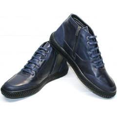 Round toe модные термо ботинки мужские зима Luciano Bellini BC2802 L Blue.