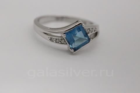 Кольцо с гидротермальным кварцем из серебра 925