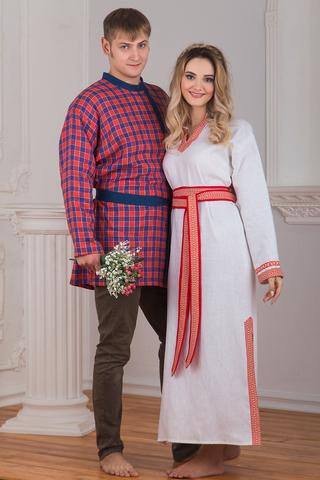 Комплект косоворотка в клетку и рубаха Верная женская