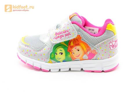 Светящиеся кроссовки для девочек Фиксики на липучках, цвет серый, мигает картинка сбоку. Изображение 3 из 15.
