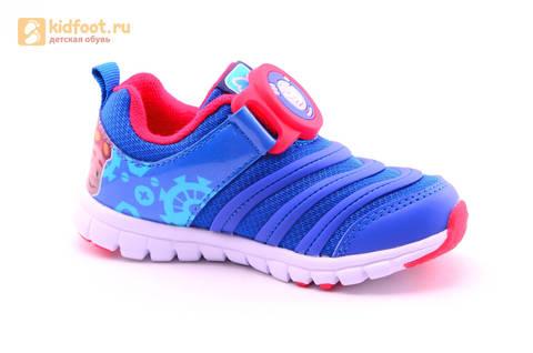 Светящиеся кроссовки для мальчиков Фиксики на липучках, цвет Синий, мигает пряжка на липучке, 5916D. Изображение 2 из 18.