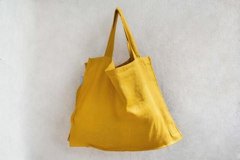 Льняная объемная сумка - маркет-бэг