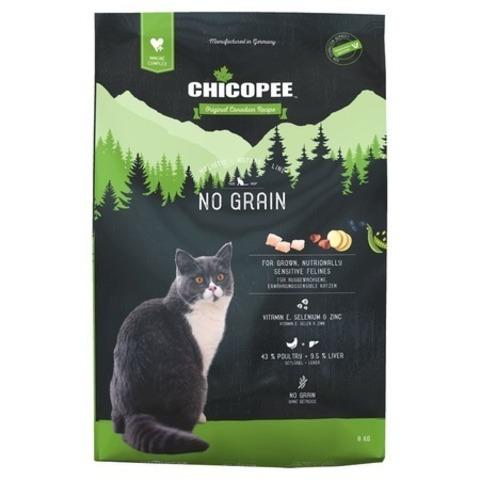 8 кг. Chicopee HNL Cat No Grain сухой беззерновой корм для кошек с чувствительным пищеварением