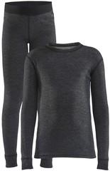 Детский Теплый Комплект Термобелья CRAFT Core Wool Merino Set JR black melange