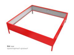 Клумба квадратная оцинкованная 1 ярус RAL 3020 Транспортный красный