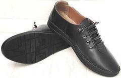 Casual кожаные мокасины кроссовки женские черные EVA collection 151 Black.