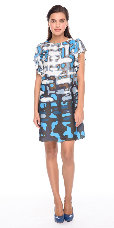 Платье З191-738 - Короткое летнее платье с ярким принтом из 100% полиэстера. Рукава отделаны эффектными, ниспадающими воланами. Модель подойдет как для каждодневных образов, так и для похода на вечеринку. Прямой силуэт платья не сковывает движений и позволяет чувствовать себя свободно и непринужденно.