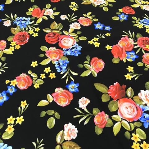 Шелк черный с цветами фото