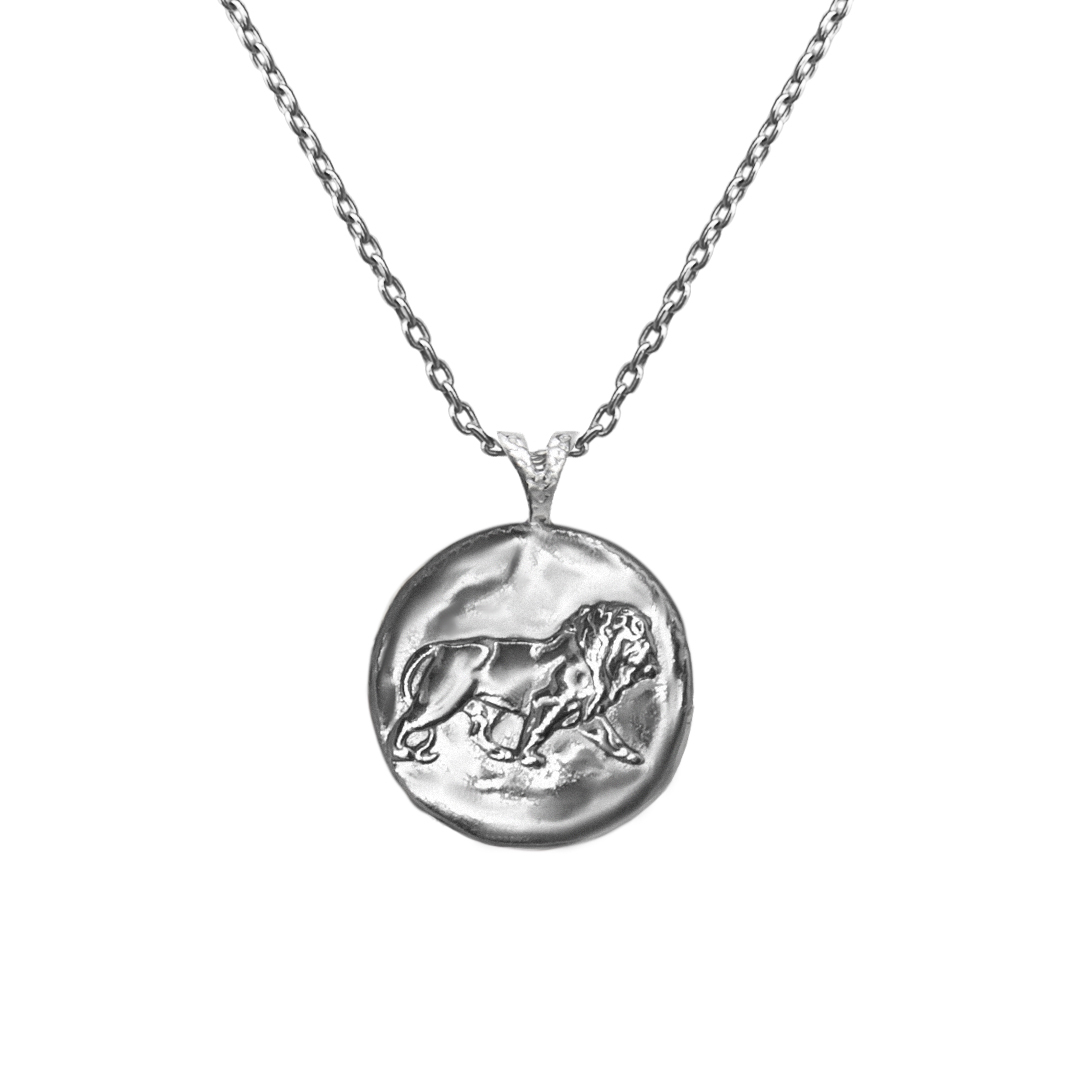 Pendant, Zodiac sign Leo on a chain, sterling  silver