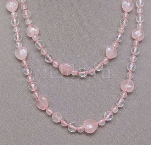длинные бусы из розового кварца