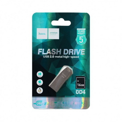 Накопитель HOCO USB Flash Disk Intelligent high-speed flash drive UD4 16GB, silver