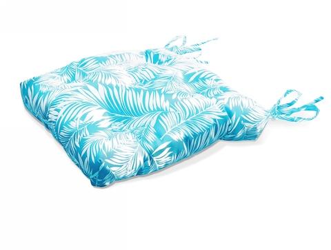 Подушка на стул Пальма голубой уличная коллекция