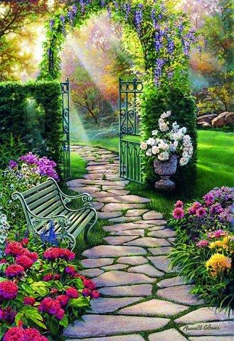 Картина раскраска по номерам 50x65 Лавочка в саду