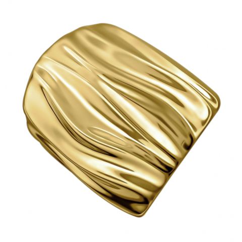 Е12К05211126ПЖ- Широкое кольцо из серебра в лимонной позолоте