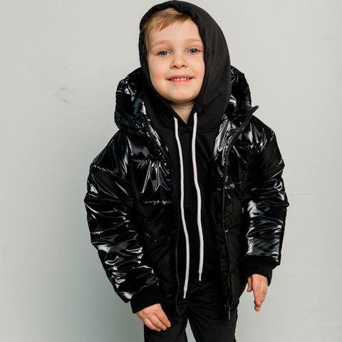 Демисезонная детская подростковая куртка в черном цвете для мальчика