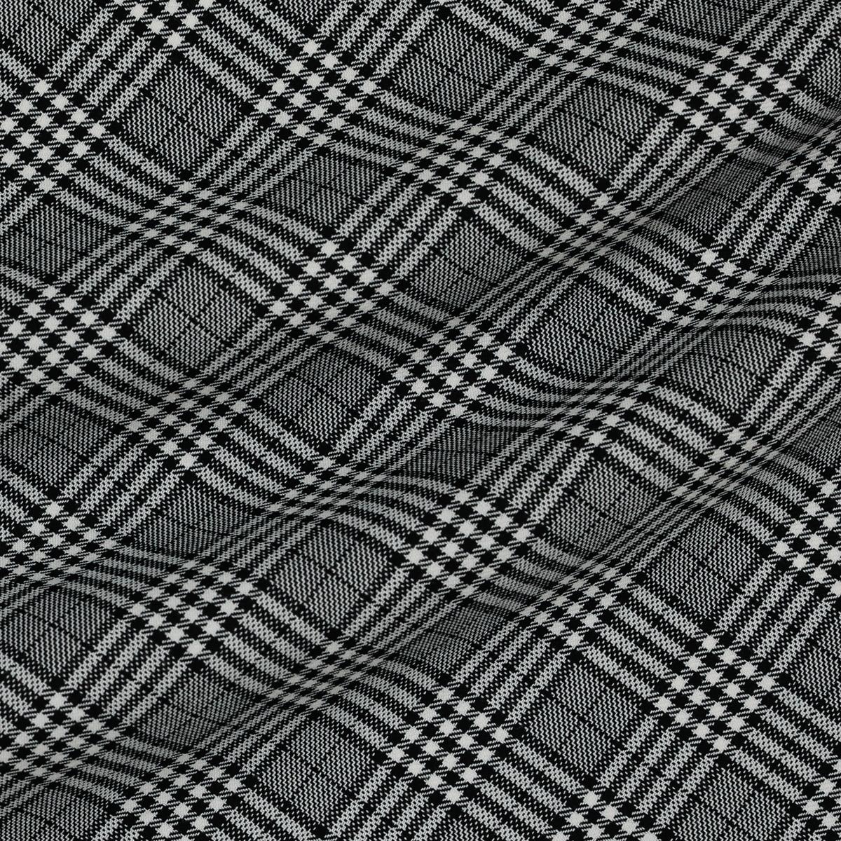 Шерстяная костюмная ткань в чёрно-белую клетку в четыре линии