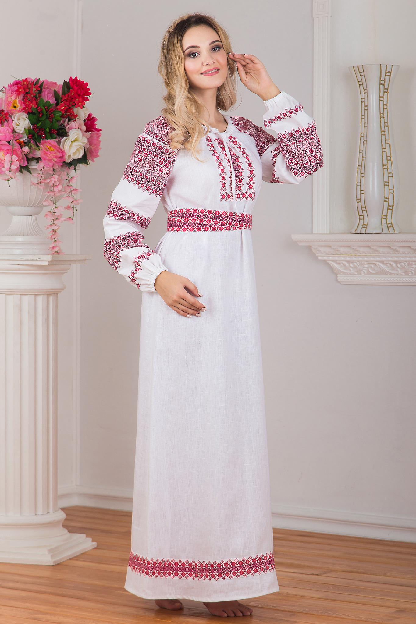 Славянское платье Беляна вид сбоку