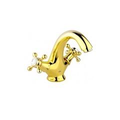 Смеситель для раковины двухвентильный Timo Nelson 1911F gold фото