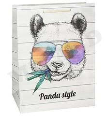 Пакет подарочный с матовой ламинацией 26.4x32.7x13.6 см (L) Стильная панда.
