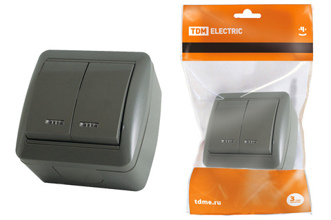 Выключатель 2-кл. открытой установки с подсветкой IP44 10А серый