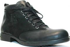 Черные зимние ботинки мужские классические Luciano Bellini 6057-58K Black Leathers & Nubuk.