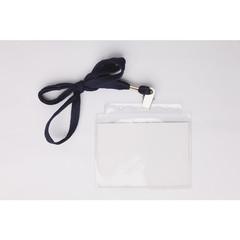 Бейдж 107х83мм Attache для карт 100х71мм метал зажим/тесьма 1015, 10 шт.