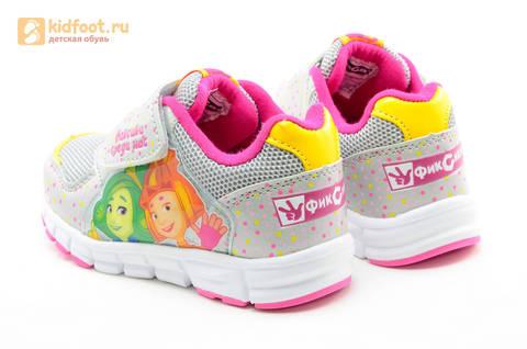 Светящиеся кроссовки для девочек Фиксики на липучках, цвет серый, мигает картинка сбоку. Изображение 7 из 15.