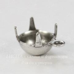 Сеттинг - основа - подвеска для страза 7 мм (оксид серебра)