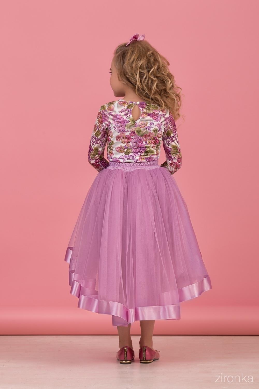 Комплект (блузка, майка, юбка) для девочки 64-8005-5