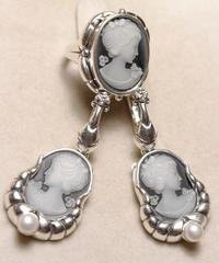 Камея в оправе (кольцо + серьги из серебра)