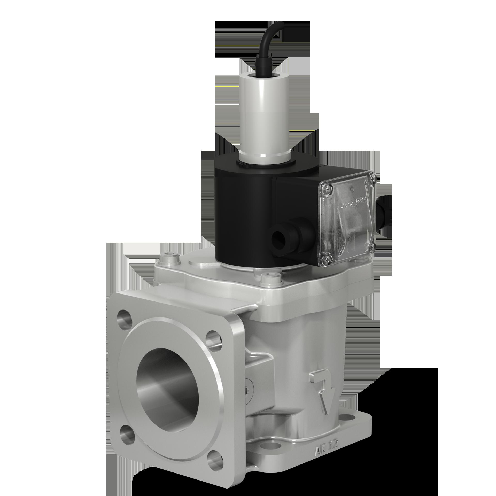 Клапаны электромагнитные угловые двухпозиционные фланцевые с датчиком положения на DN 40 - 100