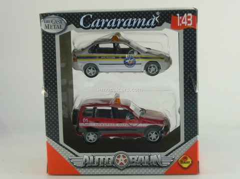 VAZ-1118 Lada Kalina MChS and Chevrolet-Niva Fire Department Cararama 1:43