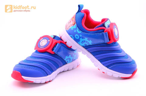 Светящиеся кроссовки для мальчиков Фиксики на липучках, цвет Синий, мигает пряжка на липучке, 5916D. Изображение 9 из 18.